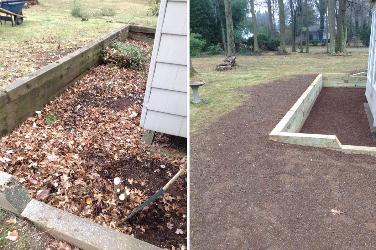 Railroad Tie Retaining Wall - Before & After