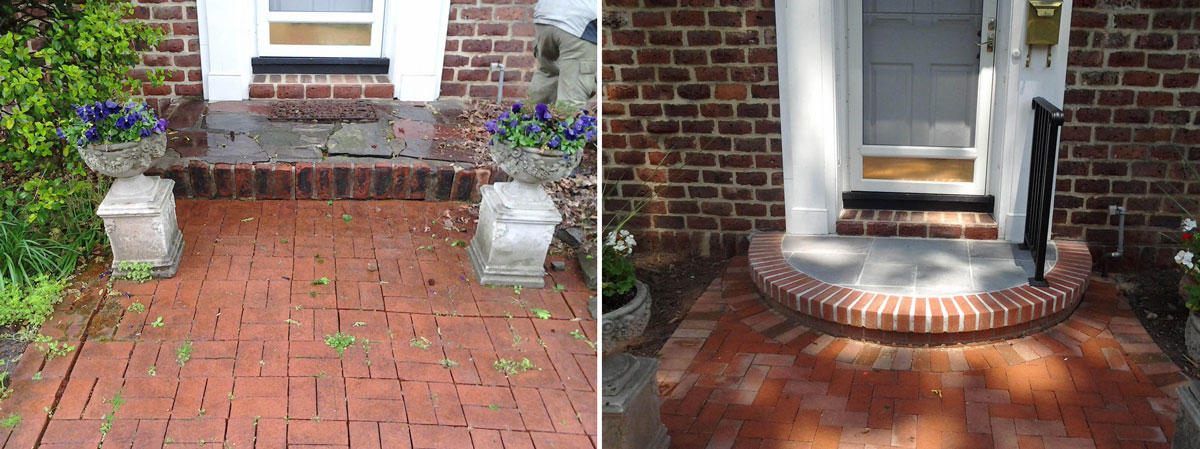Front Landing and Pavers - Before & After